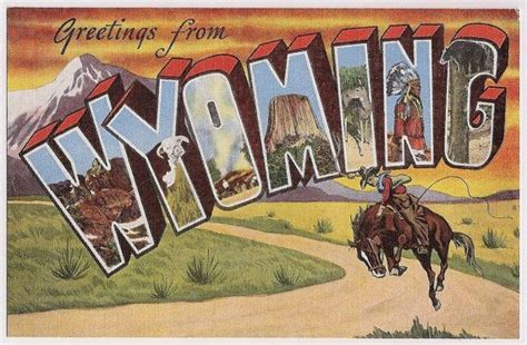 old style l post vintage wyoming large letter style greetings old postcard