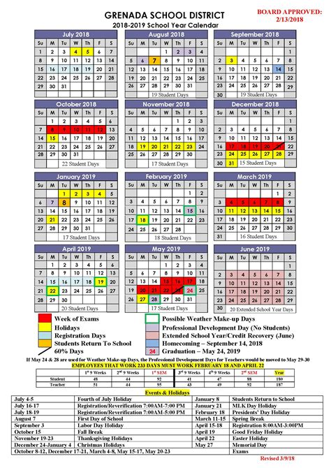 Business School Mba Calendar by Grenada School District Calendar 2018 And 2019