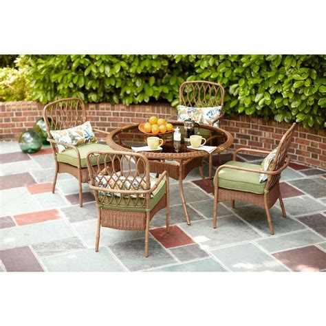 Hton Bay Clairborne 5 Piece Patio Dining Set With Moss Patio Dining Sets Home Depot