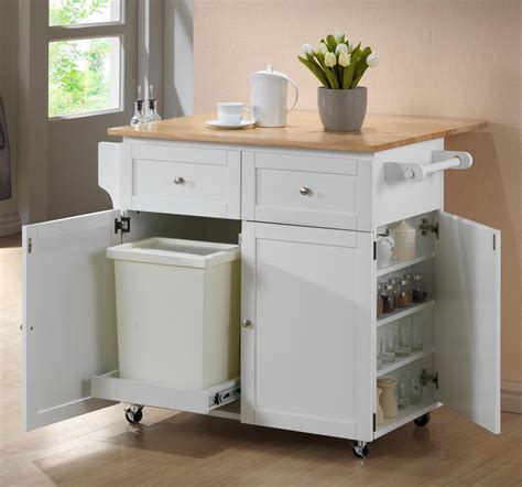 kitchen island with trash bin rolling kitchen cart with trash bin modern kitchen