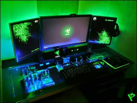 Razer Gaming Desk Diy Pc Desk Mods L3p D3sk Epic Razer Desk Setup