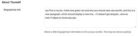 biography text function enable or disable all html tags in wordpress author
