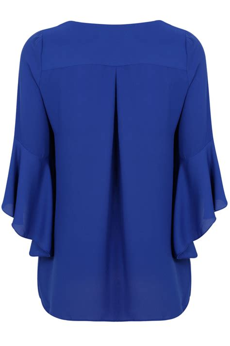 Idw079 Blue Size 16 5 cobalt blue blouse with bell sleeves plus size 16 to 32
