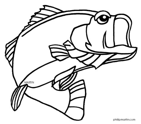 coloring pages of freshwater fish wide mouth bass clipart