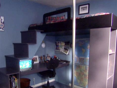 loft bed with desk underneath how to build a loft bed with a desk underneath hgtv