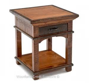 barnwood end tables amp nightstands rustic bedroom furniture round end table with shelf by liberty furniture