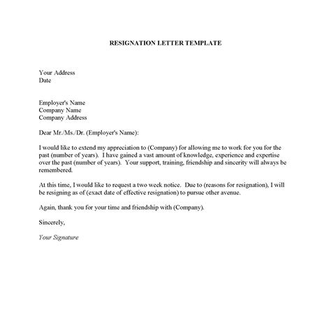 Resignation Letter Or Two Weeks Notice Resignation Letter Sles Pdf Doc Format