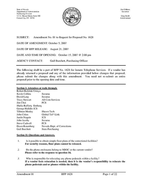 Offer Letter Amendment Nv Contract Request For Amendment 1 2007 Prison Phone Justice