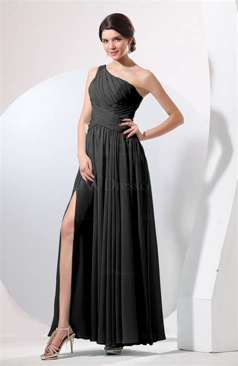 black plain sheath sleeveless floor length pleated prom