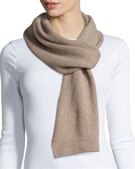 portolano honeycomb knit scarf in brown lyst
