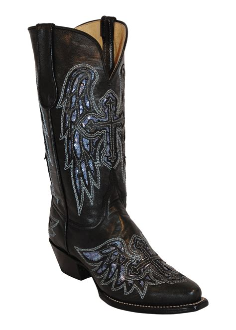 boots with crosses womens ferrini black laser wings cross leather v toe