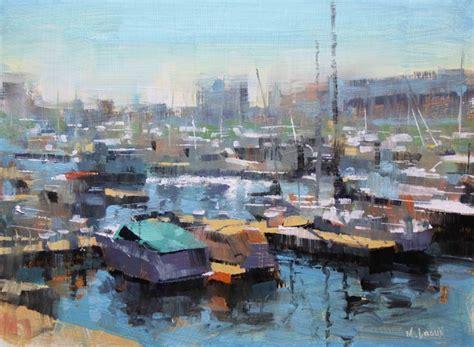 boat painters quot chicago harbor quot mark lague 9 quot x 12 quot oil art artist
