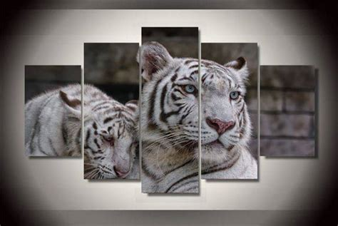 5 modern home decor wall printed white tiger