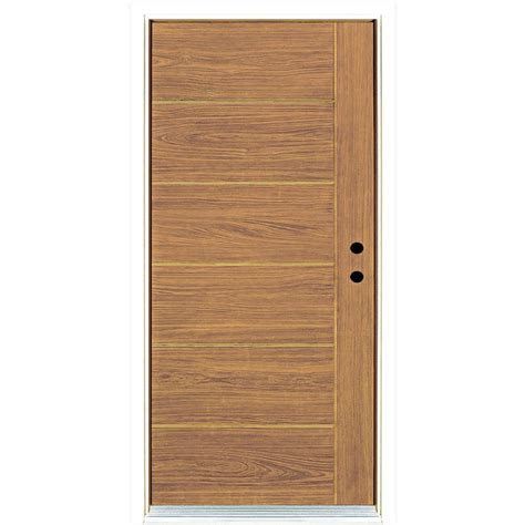 Teak Front Door Mp Doors 36 In X 80 In Contemporary Teak Modern Light Oak Left Inswing Stained Fiberglass