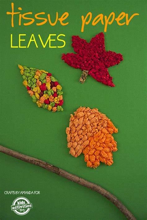 fall craft tissue paper leaves