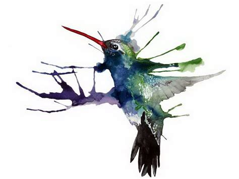 painted bird tattoo bird splatter paint hummingbird dottinghill