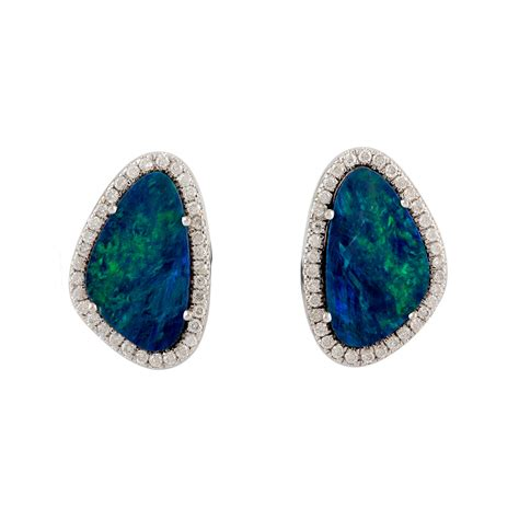 white opal earrings australian opal 18k solid white gold stud earrings pave