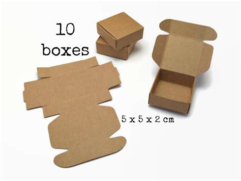 Small Boxes Out Of Paper - 10 small kraft paper box 5x5x2 cm mini tiny gift box