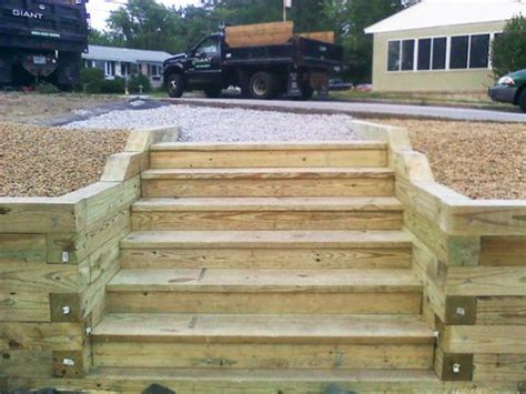Landscape Timbers Nh Wood Wood Steps And Wall Landscape Steps