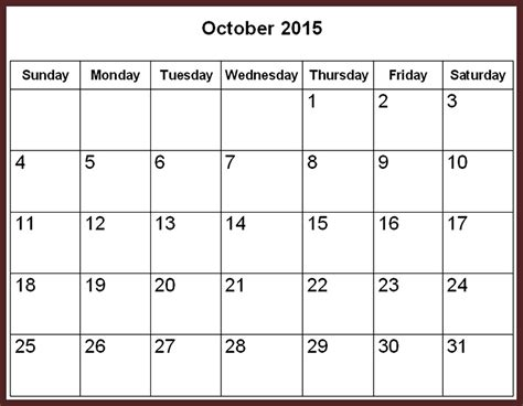 Calendar 2015 With Holidays October 2015 Calendar With Holidays Printable 2017