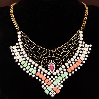 Kalung Korea Choker Decorated Hollow Out Design gimcrack multicolor diamomd decorated hollow out design alloy bib necklaces asujewelry