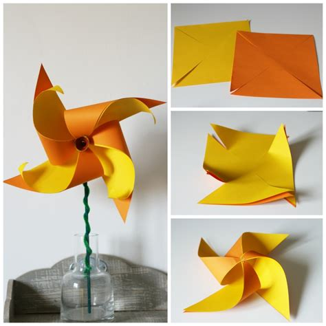 Pinwheel Paper Craft - how to make a two colour daffodil pinwheel in the