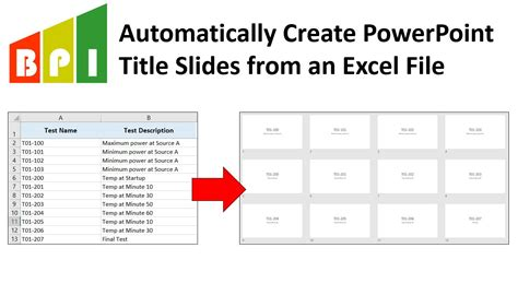 auto create powerpoint title slides from excel template