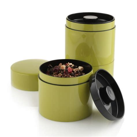Tea Tin 1 stacking tea tins the green