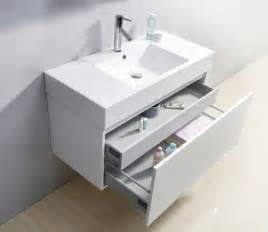 Modern Floating Bathroom Sinks 39 Quot Glossy White Modern Floating Single Sink Bathroom