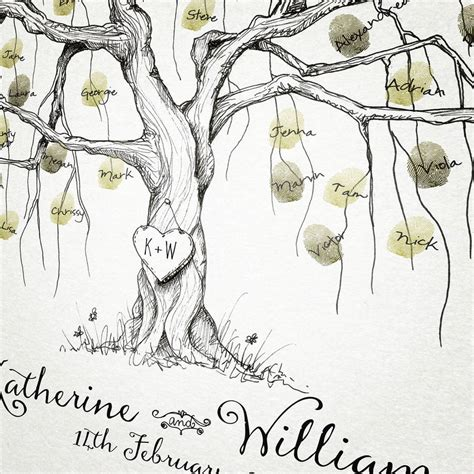 new year fingerprint tree willow wedding fingerprint tree guest book by new forest