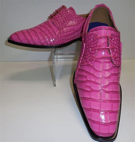 mens fuschia pink bubblegum pink gator look dress shoes