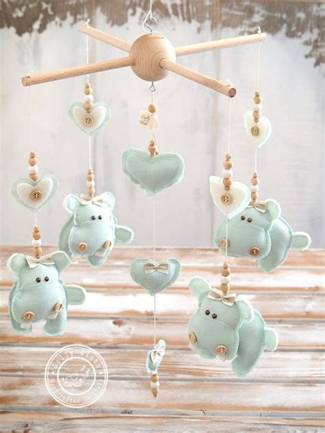 Mint Green Nursery Decor Hippo Baby Nursery Mobile Free Fedex Shipping Worldwide Mint Green Nursery Decor Baby Mobile
