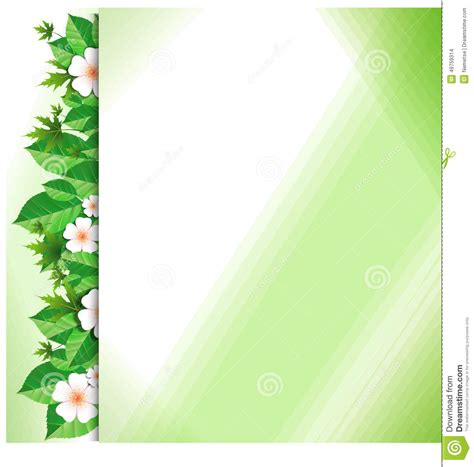 background design light green background with green leaves and flowers stock vector