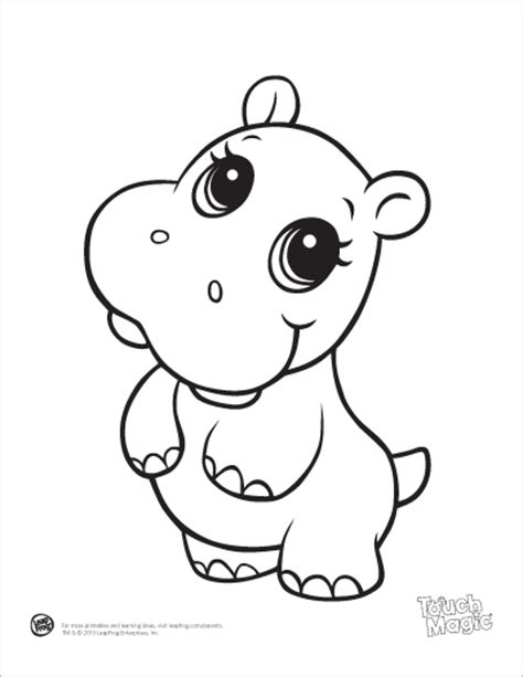 Printable Baby Animal Coloring Pages leapfrog printable baby animal coloring pages hippo