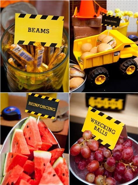 themed party food ideas construction themed birthday party construction party