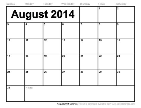 August 2014 Calendar Template 6 best images of aug 2014 calendar printable august 2014
