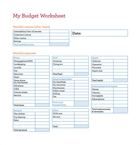 budget worksheet printable template budgeting worksheets pdf worksheets reviewrevitol free
