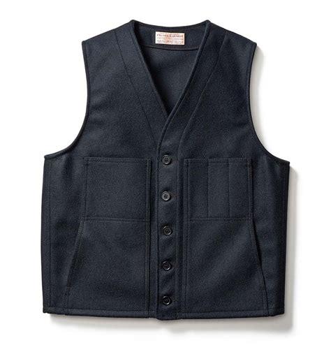 yarn vest filson mackinaw wool vest navy durable naturally rain