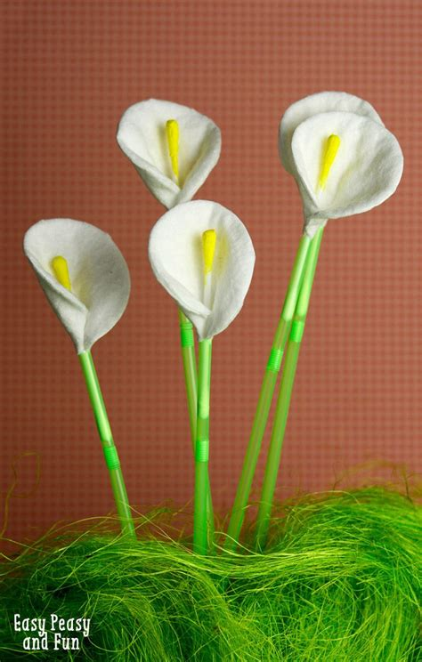 crafts flower cotton and q tip calla flowers