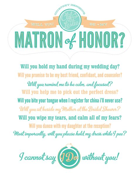 will you be my meaning matron of honor quotes quotesgram