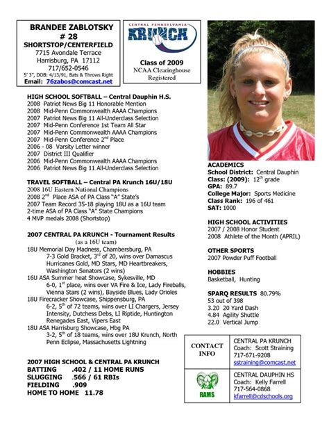 Softball Profile Sle Player Profile Central Pennsylvania Krunch Softball Softball College Soccer Player Profile Template