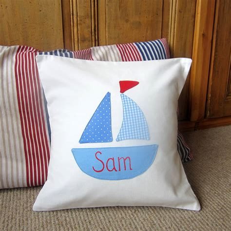nautical boys boat cushion can be personalised by the - Nautical Boat Cushions