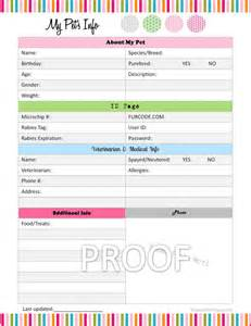 Organizing Schedule Template by Pet Information Organizer Organizing By Sweetlifeorganizing