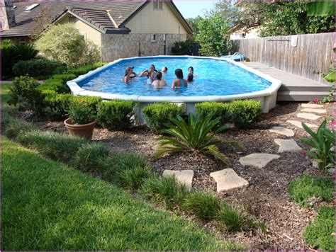 backyard landscaping above ground pool above ground pool landscape ideas bee home plan home