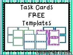blank task card template task cards on task cards free task cards and
