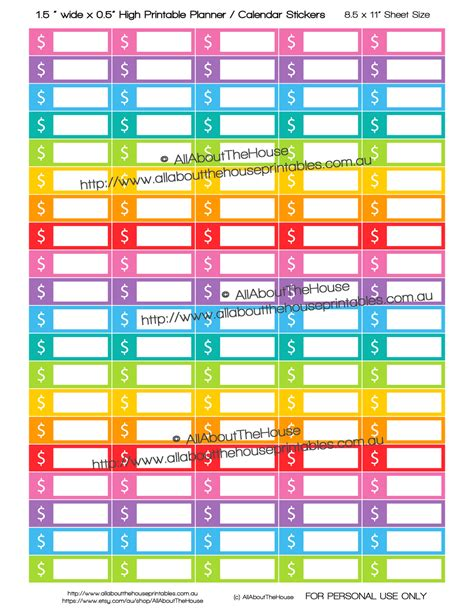 Sticker Label Kemasan Ol Shop 9 X 9 Cm dollar sign money budgeting printable calendar planner stickers 1 5 x 0 5 quot rainbow