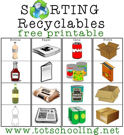 printable recycling images sorting recyclables free printable totschooling