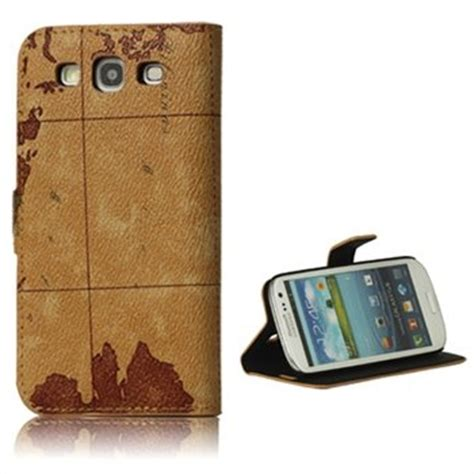 Ank Map For Iphone Cases Ipod Htc Sony Xperia Samsung Cases samsung galaxy s3 i9300 wereldkaart leren flip bruin