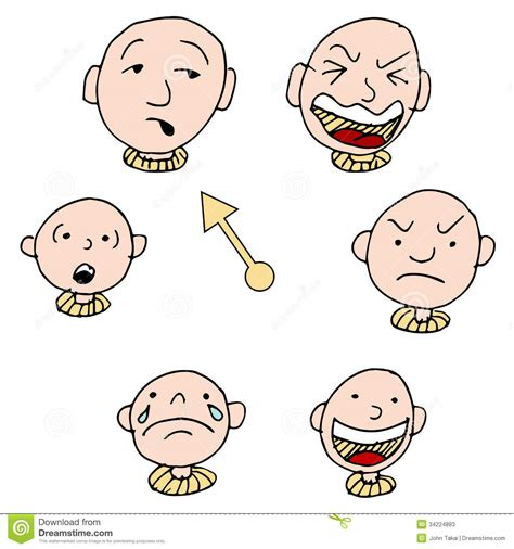 different mood swings mood face expression icon set stock vector illustration