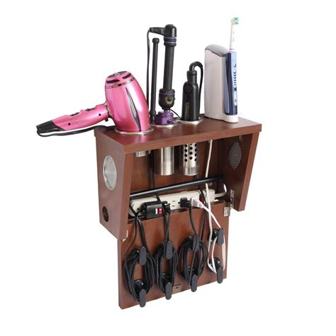 Curling Iron Dryer And Flat Iron Holder Wall Mount White pojjo wall mount hair appliance storage system in black